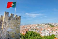 Antenna del castello di Lisbona Immagini Stock