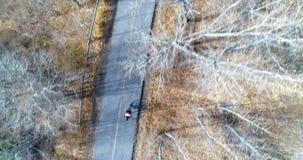 Antenna del ciclista che cicla tramite una strada campestre in antenna della foresta del ciclista che cicla con un conteggio video d archivio