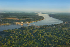 Antenna del fiume Mississippi fotografia stock libera da diritti