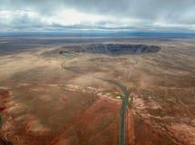 Antenna del Meteor Crater, Arizona dell'angolo alto fotografie stock