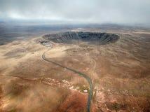 Antenna del Meteor Crater, Arizona dell'angolo alto immagine stock