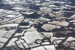 Antenna del paesaggio di inverno con i campi Fotografie Stock Libere da Diritti