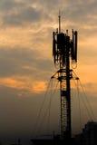 Antenna del telefono della siluetta Fotografie Stock