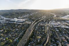 Antenna dell'autostrada senza pedaggio di Los Angeles Ventura 101 Fotografie Stock