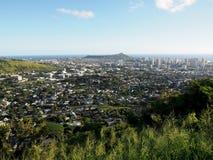 Antenna della città di Honolulu da Diamond Head a Manoa Fotografia Stock
