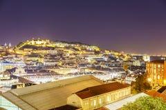 Antenna della città di Lisbona alla notte Fotografia Stock Libera da Diritti
