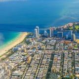 Antenna della città e spiaggia di Miami Fotografia Stock