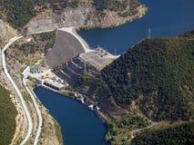 Antenna della diga del fiume Immagine Stock
