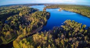 Antenna della foresta e del lago Fotografia Stock