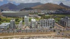 Antenna della montagna di Tabble e di Cape Town archivi video