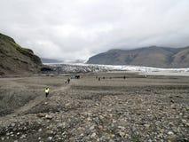 Antenna 2017 della moraine del ghiacciaio dell'Islanda Skaftafellsjokull Immagini Stock