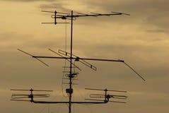 Antenna della siluetta TV Fotografie Stock Libere da Diritti