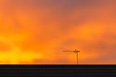 Antenna della TV sul tetto Immagine Stock