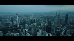 Antenna della vista di mattina all'orizzonte di Kuala Lumpur stock footage