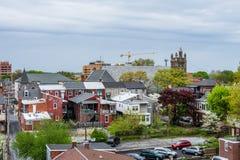 Antenna di Lancaster del centro storico, Pensilvania con il bloomin immagine stock