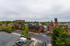 Antenna di Lancaster del centro storico, Pensilvania con il bloomin fotografia stock libera da diritti