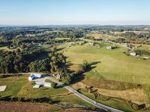 Antenna di Loganville, Pensilvania intorno al lago Redman ed al lago W Immagine Stock Libera da Diritti