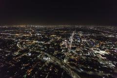 Antenna di notte di Los Angeles e di Hollywood California Fotografia Stock