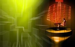 Antenna di radar che trasmette i segnali illustrazione vettoriale