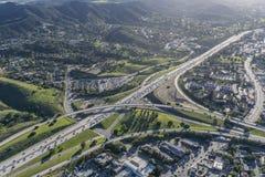 Antenna di scambio dell'autostrada senza pedaggio di Thousand Oaks 101 e 23 Fotografia Stock