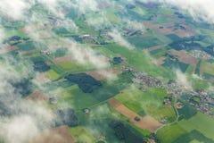 Antenna di zona rurale vicino all'aeroporto Monaco di Baviera nei moos del erdinger Immagini Stock Libere da Diritti