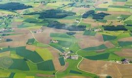 Antenna di zona rurale vicino all'aeroporto Monaco di Baviera nei moos del erdinger Immagine Stock