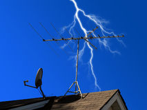Antenna and Dish with Lightning Stock Images