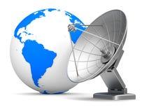 Antenna e globo satelliti su fondo bianco Illu isolato 3d Immagine Stock