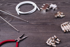 The antenna equipment, plugs, tools Stock Photography