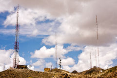 Antenna Farm-1. Broadcast television and radio station antennas and towers Stock Image