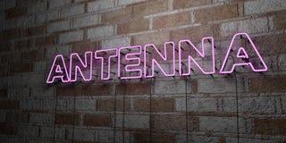 ANTENNA - Insegna al neon d'ardore sulla parete del lavoro in pietra - 3D ha reso l'illustrazione di riserva libera della sovrani Fotografia Stock Libera da Diritti