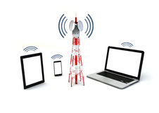 Antenna and mobile devices. Communicaciones and mobility concept: isolated render of antenna and mobile devices Stock Photo