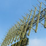 Antenna of modern mobile military radar station on the blue sky background Stock Photography