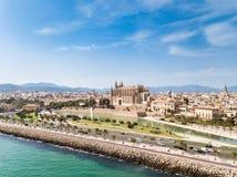 Antenna: Paesaggio urbano di Palma de Mallorca, Spagna fotografia stock