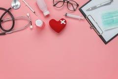 Antenna piana di disposizione della sanità degli accessori & del concetto del fondo medico Fotografia Stock