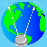 Antenna and planet land. Antenna for issue and receiving the signal and planet land Stock Photo