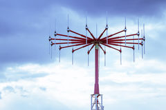 Antenna in private airport. On cloudy sky background Royalty Free Stock Photos