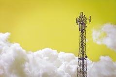 Antenna pylon cloudy sky. Antenna pylon transmitter and cloudy yellow sky,  background Stock Images