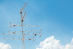 Antenna receiver on sky Royalty Free Stock Image