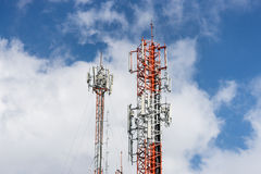 Antenna repeater tower on blue sky Stock Photo