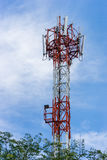 Antenna repeater tower on blue sky Stock Image