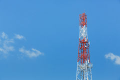 Antenna repeater tower. On blue sky, wireless telecommunication concept Royalty Free Stock Photography