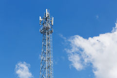 Antenna repeater tower. On blue sky, wireless telecommunication concept Royalty Free Stock Photos