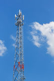 Antenna repeater tower. On blue sky, wireless telecommunication concept Stock Photos