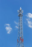 Antenna repeater tower. On blue sky, wireless telecommunication concept Royalty Free Stock Photo