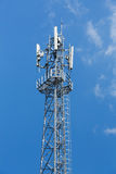 Antenna repeater tower. On blue sky, wireless telecommunication concept Stock Photography