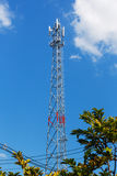 Antenna repeater tower. On blue sky, wireless telecommunication concept Royalty Free Stock Image