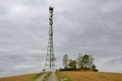 Antenna repeater tower in the hill Stock Photography