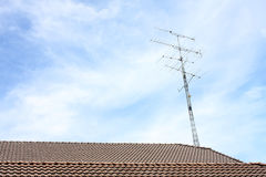 An antenna on the roof. Royalty Free Stock Photography