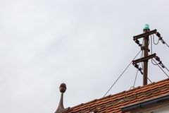 antenna on rooftop of a historical vintage building Royalty Free Stock Photos